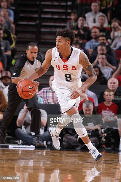 Kelly Oubre of Team USA dribbles the ball against the World Team on April 12 2014 at the Moda Center Arena in Portland Oregon NOTE TO USER User...