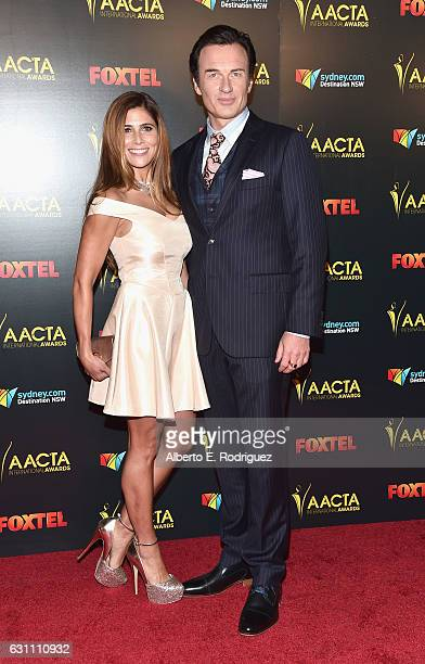 Kelly Paniagua and actor Julian McMahon attends the 6th AACTA International Awards at Avalon Hollywood on January 6 2017 in Los Angeles California