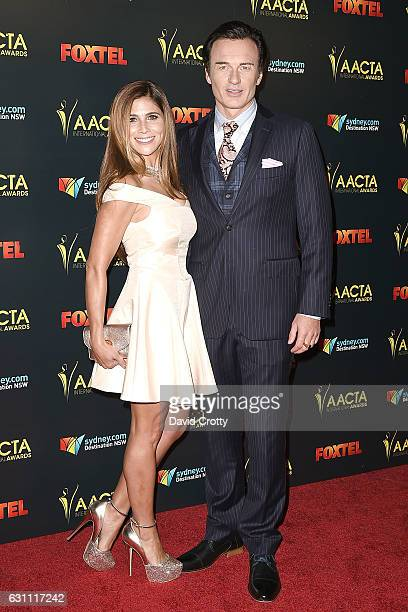 Kelly Paniagua and Julian McMahon attend the 6th AACTA International Awards Arrivals at Avalon Hollywood on January 6 2017 in Los Angeles California