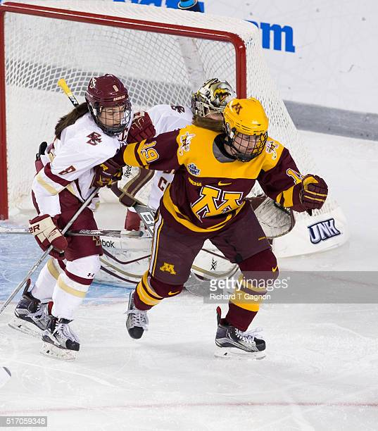 Kelly Pannek of the Minnesota Golden Gophers is checked by Dana Trivigno of the Boston College Eagles during the 2016 NCAA Division I Women's Hockey...