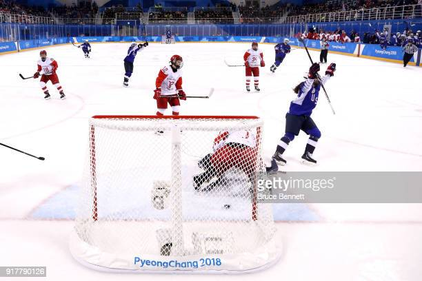 Kelly Pannek of the United States celebrates a second period goal against Olympic Athletes from Russia during the Women's Ice Hockey Preliminary...