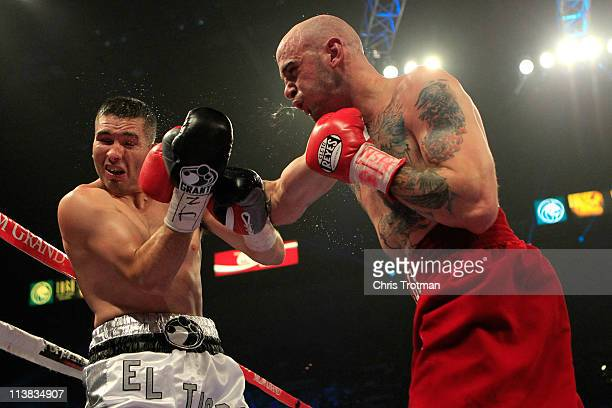 Kelly Pavlik connects with a right to the face of Alfonso Lopez during the super middleweight fight at MGM Grand Garden Arena on May 7 2011 in Las...