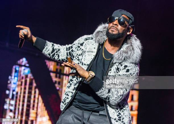 R Kelly performs at Little Caesars Arena on February 21 2018 in Detroit Michigan