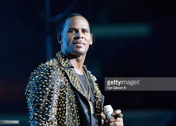 R Kelly performs onstage during R Kelly New Edition and The Jacksons at the 2013 BET Experience at Staples Center on June 30 2013 in Los Angeles...