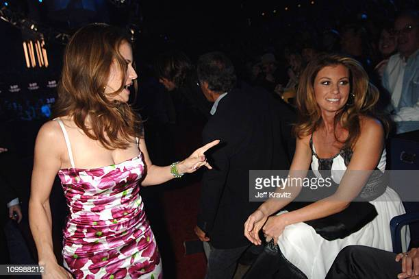Kelly Preston and Faith Hill during 2006 CMT Music Awards Backstage and Audience at Curb Events Center at Belmont University in Nashville Tennessee...