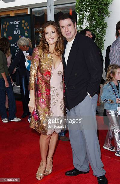 Kelly Preston and husband John Travolta during World Premiere of The Cat In The Hat at Universal Studios Cinemas in Hollywood California United States