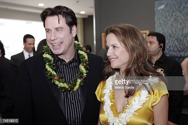 Kelly Preston and John Travolta arrive for a Fundraiser for Narconon Hawaii at the Honolulu Design Center May 24 2007 in Honolulu Hawaii