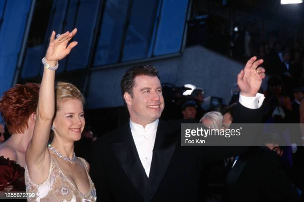 Kelly Preston and John Travolta attend the 51th Cannes film Festival on May 1998 in Cannes France