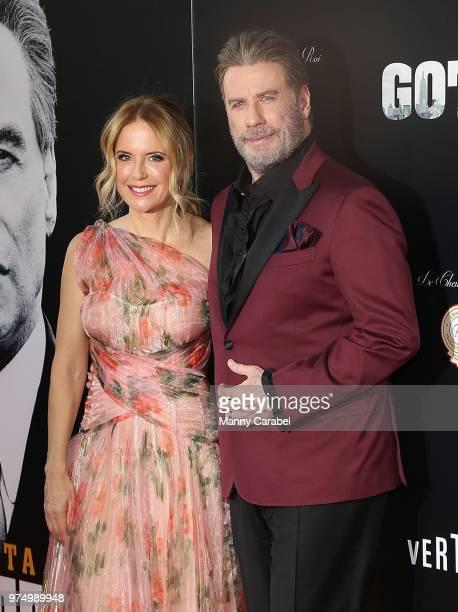 "Kelly Preston and John Travolta attend the New York Premiere of ""Gotti"" at SVA Theater on June 14, 2018 in New York City."