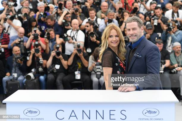Kelly Preston and John Travolta attend the photocall for 'Rendezvous With John Travolta Gotti' during the 71st annual Cannes Film Festival at Palais...
