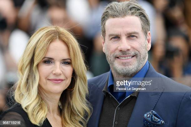 Kelly Preston and John Travolta attend the photocall for Rendezvous With John Travolta Gotti during the 71st annual Cannes Film Festival at Palais...