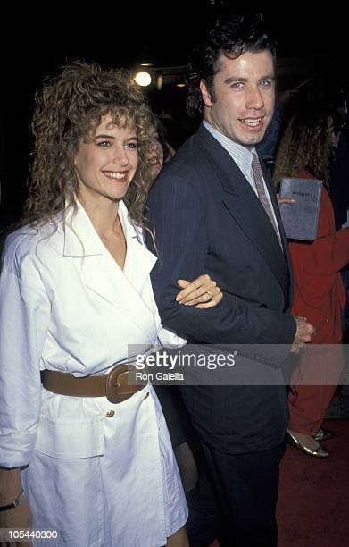 Kelly Preston and John Travolta during 'Hudson Hawk' Los Angeles Premiere at Mann's National in Westwood California United States