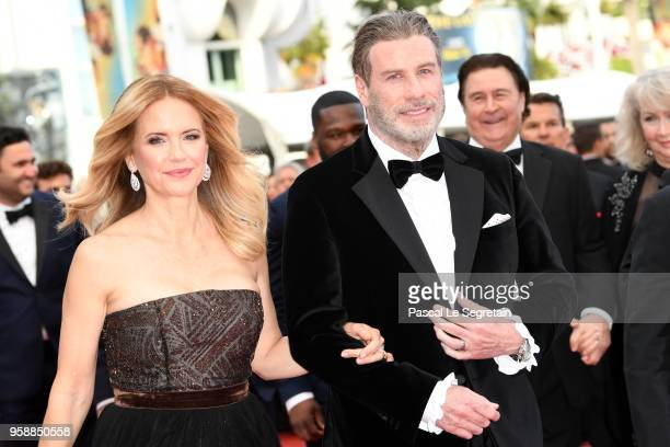 """Kelly Preston and John Travolta of """"Gotti"""" attend the red carpet screening of """"Solo: A Star Wars Story"""" during the 71st annual Cannes Film Festival..."""