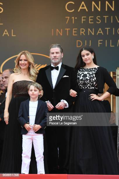 Kelly Preston and John Travolta of Gotti pose with their children Ella Bleu Travolta and Benjamin Travolta at the red carpet screening of Solo A Star...