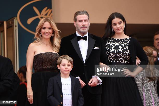 "Kelly Preston and John Travolta of ""Gotti"" pose with their children Ella Bleu Travolta and Benjamin Travolta at the red carpet screening of ""Solo: A..."