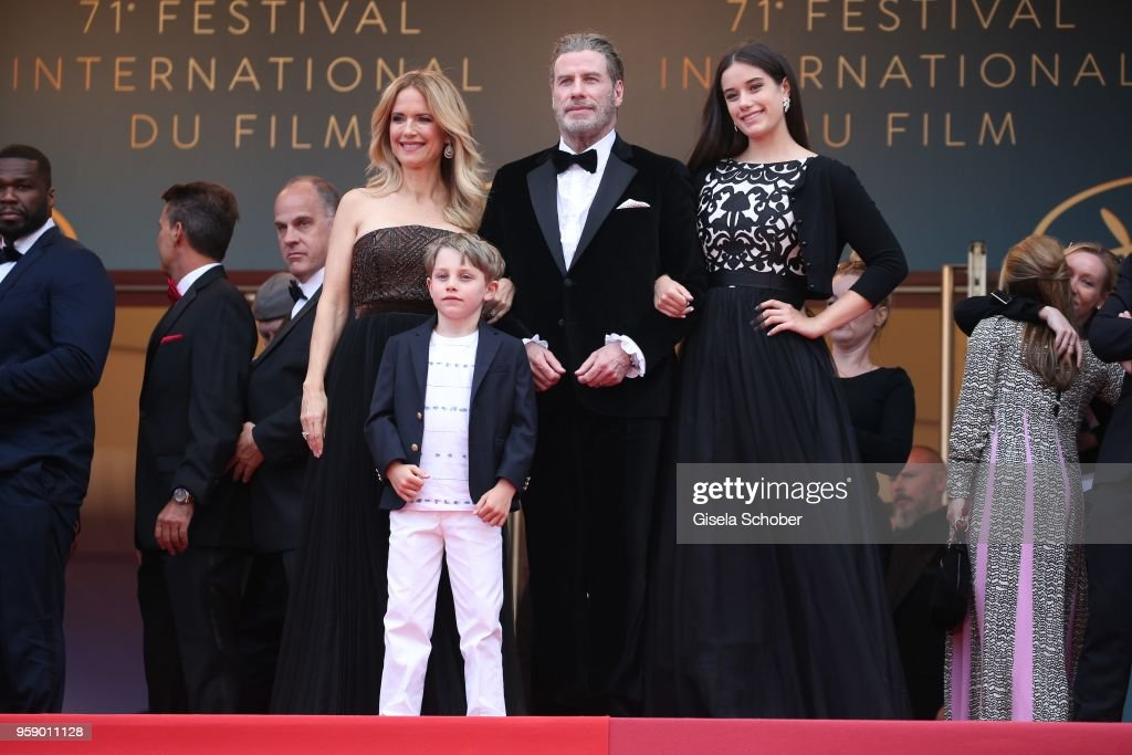 Kelly Preston (L) and John Travolta of 'Gotti' pose with their children Ella Bleu Travolta (R) and Benjamin Travolta at the red carpet screening of 'Solo: A Star Wars Story' during the 71st annual Cannes Film Festival at Palais des Festivals on May 15, 2018 in Cannes, France.