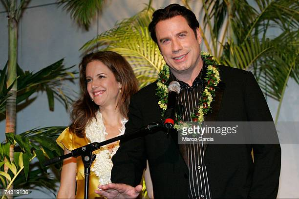 Kelly Preston and John Travolta speak at a fundraising reception for a new Narconon Hawaii drug rehab center at the Honolulu Design Center May 24...