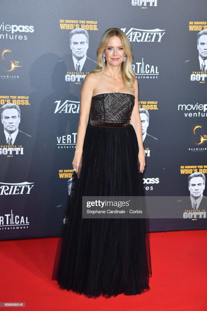 Kelly Preston attends a party in Honour of John Travolta's receipt of the Inaugural Variety Cinema Icon Award during the 71st annual Cannes Film Festival at Hotel du Cap-Eden-Roc on May 15, 2018 in Cap d'Antibes, France.