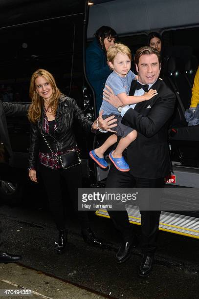 Kelly Preston Benjamin Travolta AND John Travolta enter the Late Show With David Letterman taping at the Ed Sullivan Theater on April 20 2015 in New...