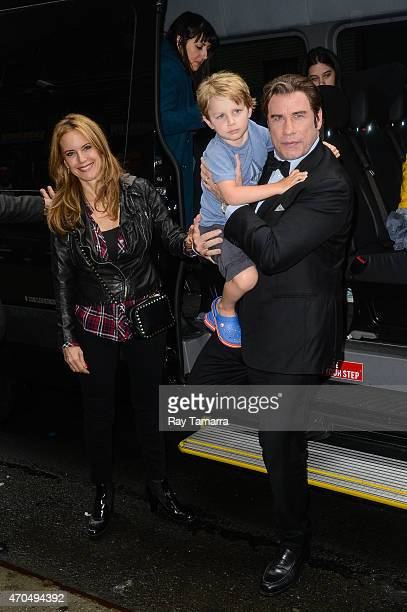 Kelly Preston Benjamin Travolta AND John Travolta enter the 'Late Show With David Letterman' taping at the Ed Sullivan Theater on April 20 2015 in...