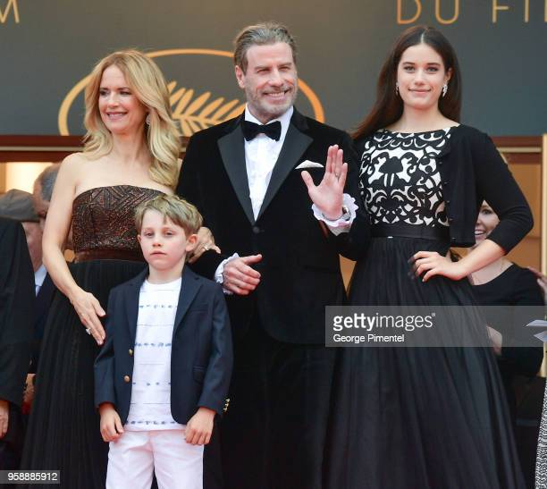"Kelly Preston, Benjamin Travolta, John Travolta and Ella Travolta attend the screening of ""Solo: A Star Wars Story"" during the 71st annual Cannes..."