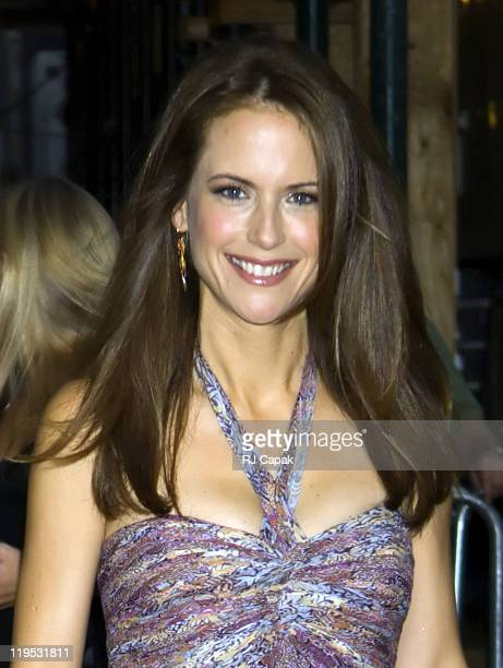 Kelly Preston during Kelly Preston Visits the 'Late Show with David Letterman' July 27 2005 at Ed Sullivan Theatre in New York City New York United...