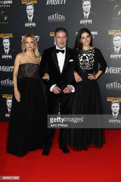 Kelly Preston, John Travolta and Ella Bleu Travolta attend a party in Honour of John Travolta's receipt of the Inaugural Variety Cinema Icon Award...