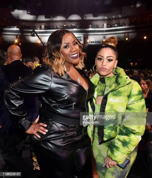 Kelly Price and Layton Greene attend the 2019 Soul Train Awards presented by BET at the Orleans Arena on November 17 2019 in Las Vegas Nevada