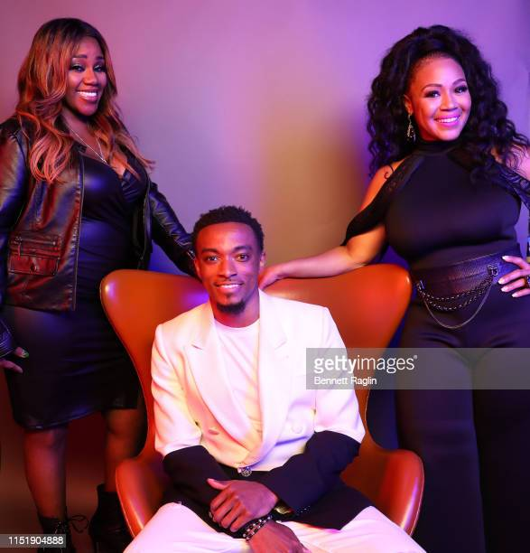 Kelly Price Jonathan McReynolds and Erica Campbell pose for a portrait during the BET Awards 2019 at Microsoft Theater on June 23 2019 in Los Angeles...