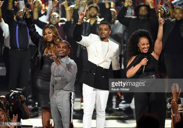 Kelly Price Kirk Franklin Jonathan McReynolds and Erica Campbell perform onstage at the 2019 BET Awards on June 23 2019 in Los Angeles California