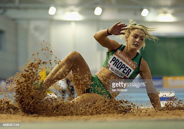Kelly Proper in action in the womens long Jump Final at the Sainsbury's British Athletics Indoor Championships on February 9 2014 in Sheffield England