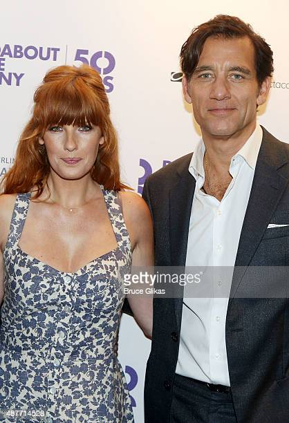 Kelly Reilly and Clive Owen pose at the Roundabout Theater Company's 50th Anniversary Season Party at The American Airlines Theater Penthouse on...