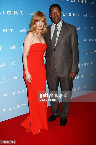 Kelly Reilly and Denzel Washington attend the UK premiere of 'Flight' at The Empire Leicester Square on January 17, 2013 in London, England.