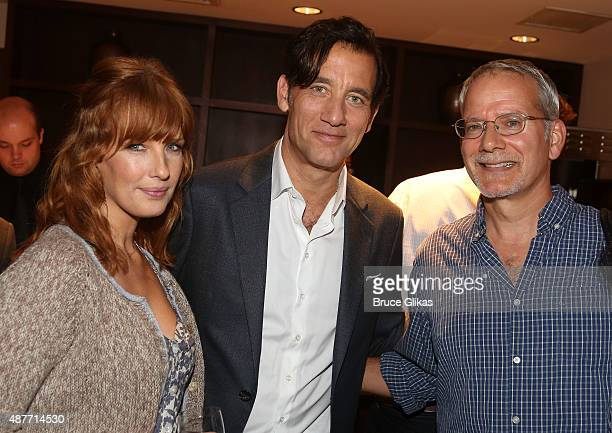 Kelly Reilly Clive Owen and Campbell Scott pose at the Roundabout Theater Company's 50th Anniversary Season Party at The American Airlines Theater...