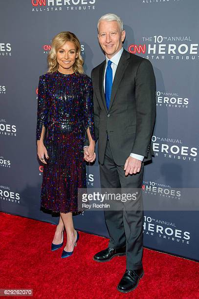 Kelly Ripa and Anderson Cooper attend the 10th Anniversary CNN Heroes at American Museum of Natural History on December 11 2016 in New York City