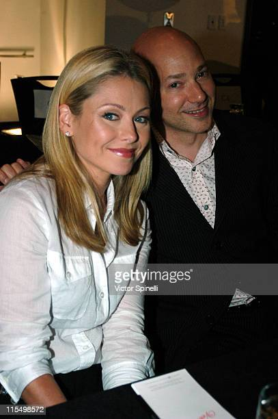 Kelly Ripa and Evan Handler during MercedesBenz Fashion Week Spring 2004 Veteran by Danny Seo Anamyn Turowski Backstage at The Westin Hotel in New...