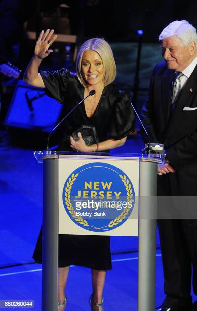 Kelly Ripa and her father Joe Ripa receiving the Performing Arts Award at the 2017 New Jersey Hall Of Fame Induction Ceremony at Asbury Park...
