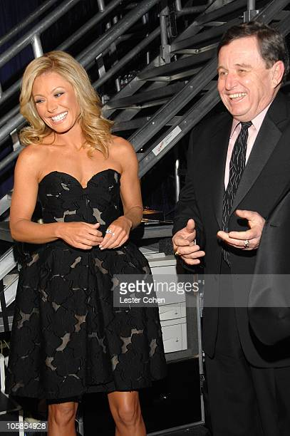 Kelly Ripa and Jerry Mathers during 5th Annual TV Land Awards Backstage at Barker Hangar in Santa Monica California United States