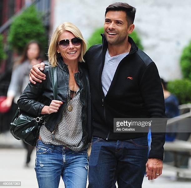 Kelly Ripa and Mark Consuelos are seen in Soho on May 14 2014 in New York City