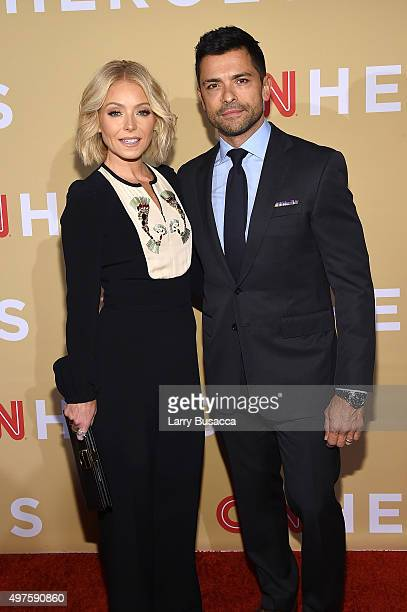 Kelly Ripa and Mark Consuelos attend the '2015 CNN Heroes An AllStar Tribute' at American Museum of Natural History on November 17 2015 in New York...