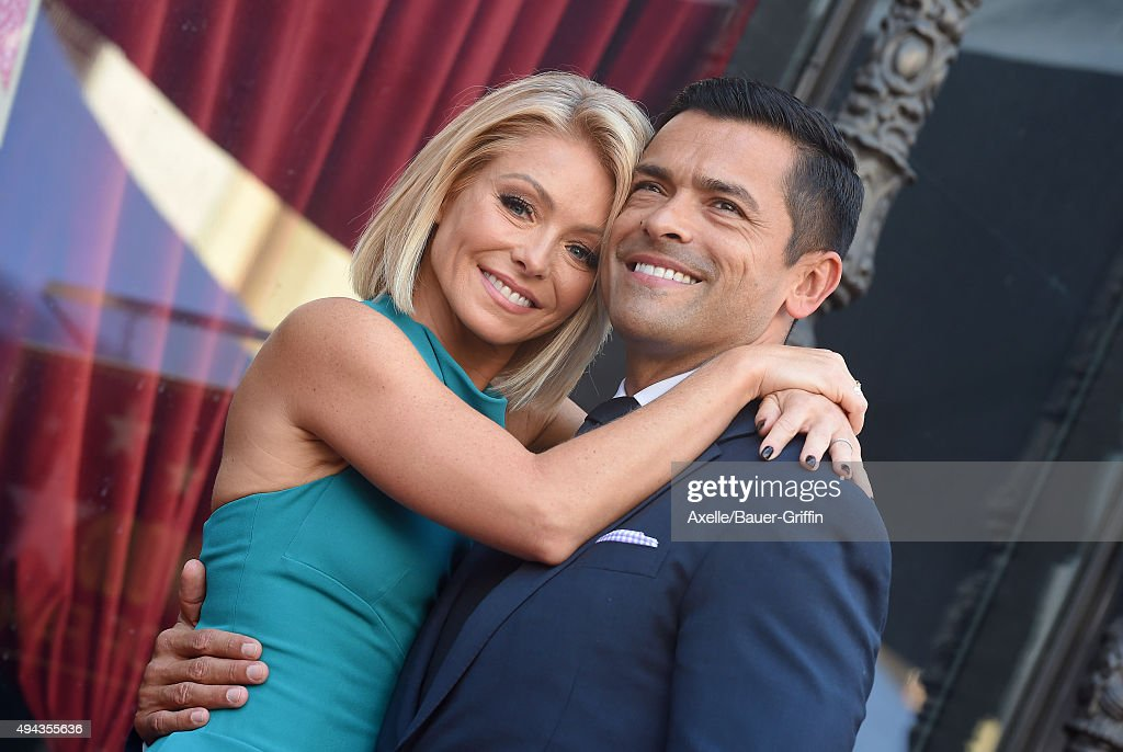 Kelly Ripa and Mark Consuelos attend the ceremony honoring Kelly Ripa with a star on the Hollywood Walk of Fame on October 12, 2015 in Hollywood, California.