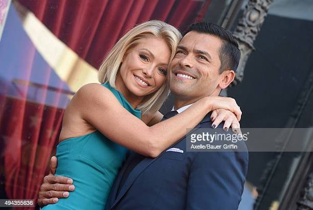 Kelly Ripa and Mark Consuelos attend the ceremony honoring Kelly Ripa with a star on the Hollywood Walk of Fame on October 12 2015 in Hollywood...