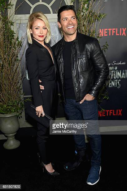 Kelly Ripa and Mark Consuelos attend the 'Lemony Snicket's A Series Of Unfortunate Events' Screening at AMC Lincoln Square Theater on January 11 2017...
