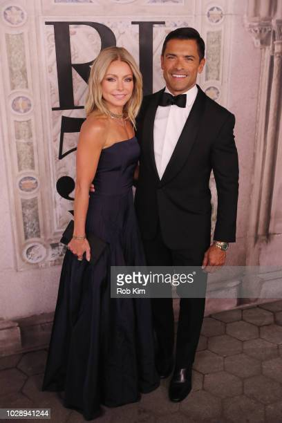 Kelly Ripa and Mark Consuelos attends the Ralph Lauren fashion show during New York Fashion Week at Bethesda Terrace on September 7 2018 in New York...
