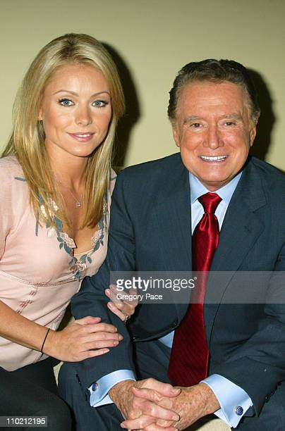 Kelly Ripa and Regis Philbin during 7UP Plus Commercial Viewing Party Inside at Great Jones Spa in New York City New York United States