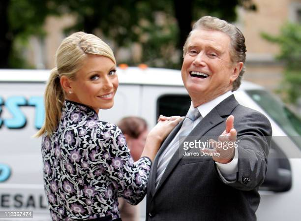 Kelly Ripa and Regis Philbin during Kelly Ripa and Regis Philbin Filming Commercial on Manhattan's Upper West Side September 26 2005 at Upper West...