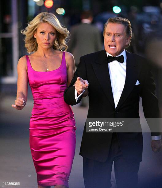 Kelly Ripa and Regis Philbin during Kelly Ripa and Regis Philbin Filming Commercial September 27 2005 at Upper West Side in New York City New York...