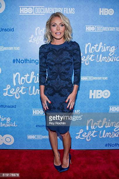 Kelly Ripa attends 'Nothing Left Unsaid' Premiere at Time Warner Center on April 4 2016 in New York City