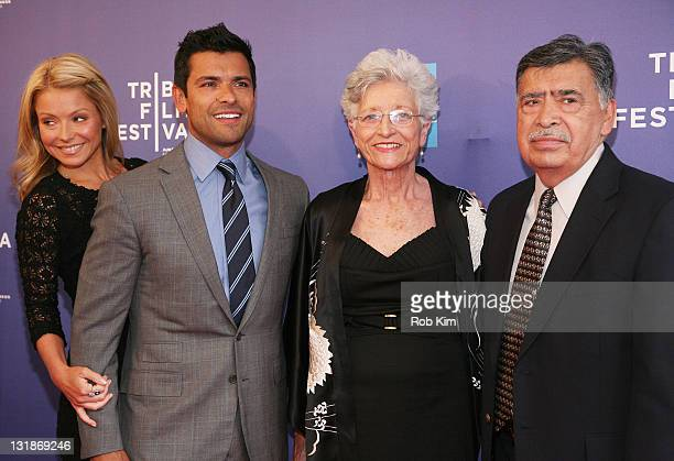 Kelly Ripa her husband Mark Consuelos and Mark's parents Camilla Consuelos and Saul Consuelos attend the premiere of Off the Rez during the 10th...