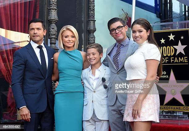 Kelly Ripa husband Mark Consuelos daughter Lola Consuelos sons Michael Consuelos and Joaquin Consuelos attend the ceremony honoring Kelly Ripa with a...